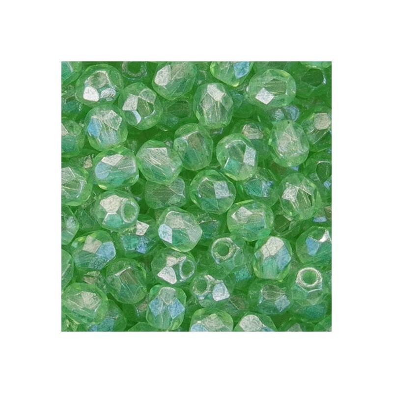 Tsekkiläinen fasettihiottu pyöreä lasihelmi 4 mm, kirkas kiiltävä peridootti