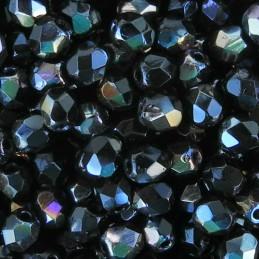 Tsekkiläinen fasettihiottu pyöreä lasihelmi 4 mm, opaakki musta twilight