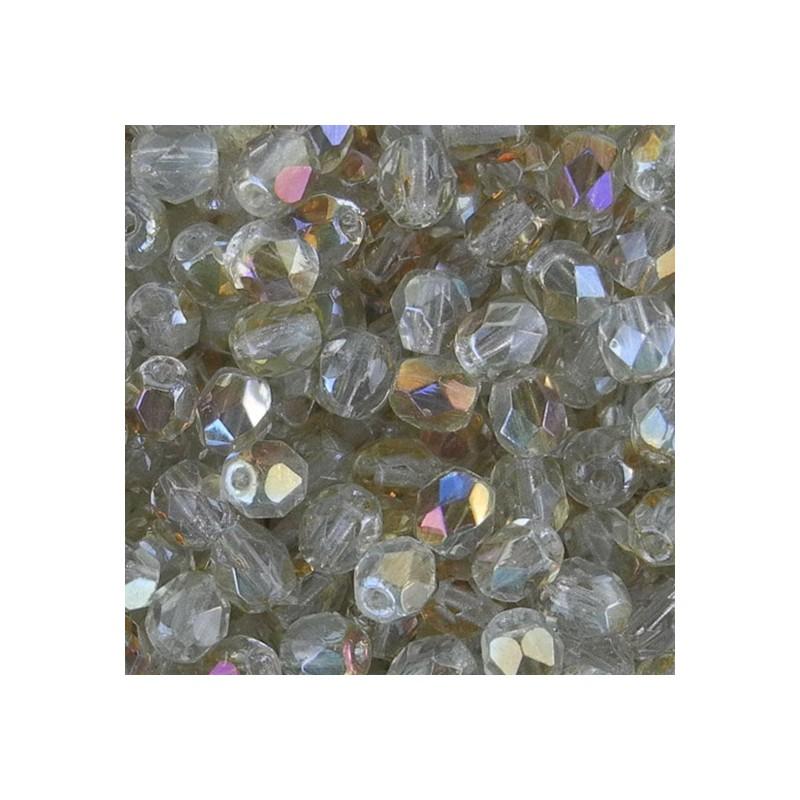 Tsekkiläinen fasettihiottu pyöreä lasihelmi 4 mm, kirkas twilight