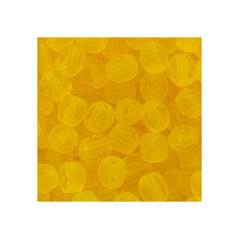Tsekkiläinen fasettihiottu pyöreä lasihelmi 4 mm, kirkas matta sitruuna