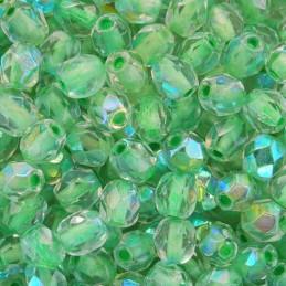 Tsekkiläinen fasettihiottu pyöreä lasihelmi 4 mm, kirkas peridoottisisus AB