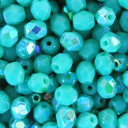 Tsekkiläinen fasettihiottu pyöreä lasihelmi 4 mm, opaakki turkoosi AB