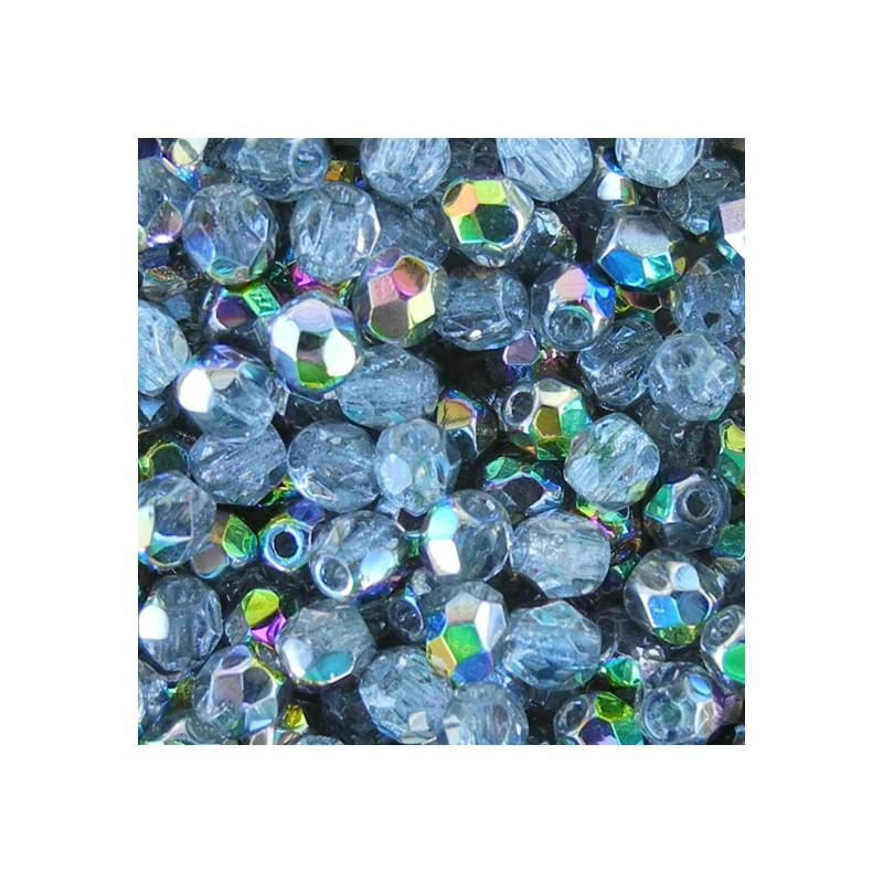 Tsekkiläinen fasettihiottu pyöreä lasihelmi 4 mm, kirkas vitrail