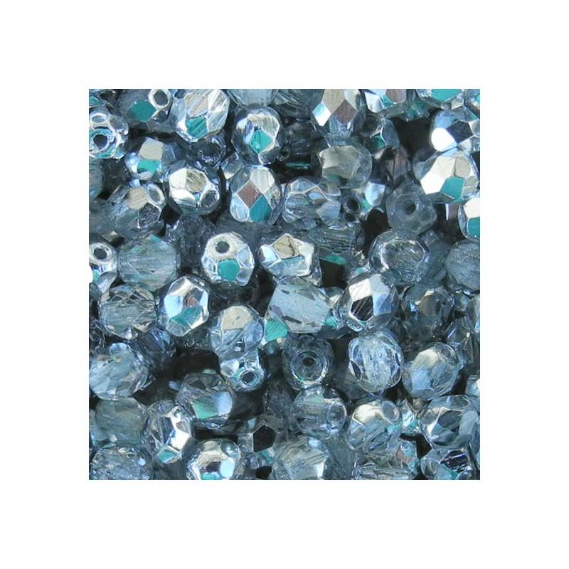 Tsekkiläinen fasettihiottu pyöreä lasihelmi 4 mm, kirkas/hopea