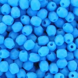 Tsekkiläinen fasettihiottu pyöreä lasihelmi 4 mm, opaakki sininen