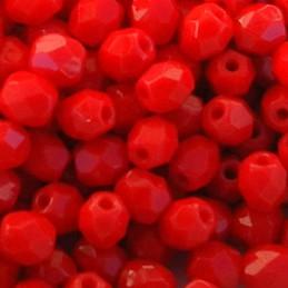 Tsekkiläinen fasettihiottu pyöreä lasihelmi 4 mm, opaakki tummempi punainen