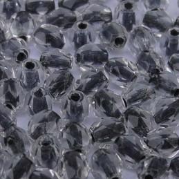 Tsekkiläinen fasettihiottu pyöreä lasihelmi 4 mm, kirkas mustasisus