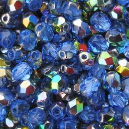 Tsekkiläinen fasettihiottu pyöreä lasihelmi 4 mm, kirkas safiiri vitrail