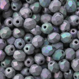 Tsekkiläinen fasettihiottu pyöreä lasihelmi 4 mm, matta violetti iris