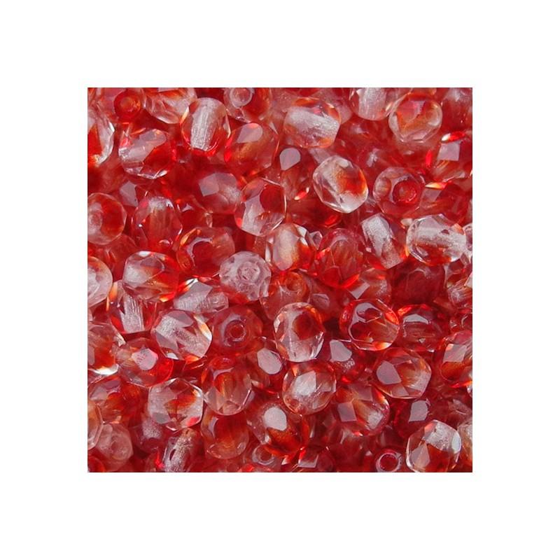 Tsekkiläinen fasettihiottu pyöreä lasihelmi 4 mm, kirkas/tummanpunainen