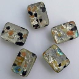 Lamppuhelmi, suorakaide 13 x 18 mm, kellertävä millefiori hopeafolio