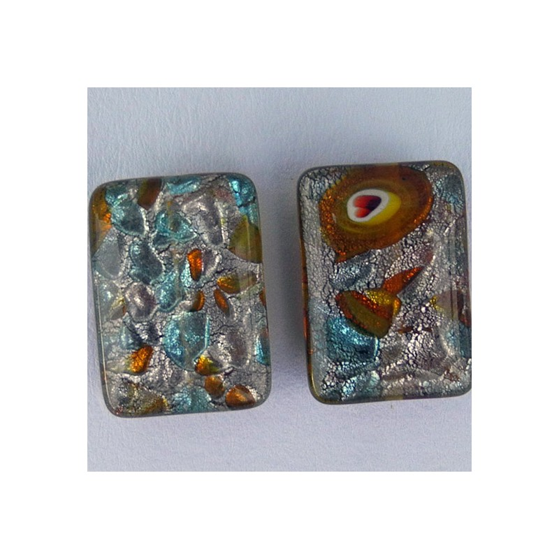 Lamppuhelmi, suorakaide 13 x 18 mm, keeltainen millefiori hopeafolio