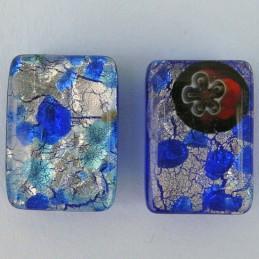 Lamppuhelmi, suorakaide 13 x 18 mm, tummansininen millefiori hopeafolio