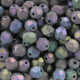 Tsekkiläinen fasettihiottu pyöreä lasihelmi 6 mm, matta violetti iris