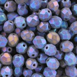 Tsekkiläinen fasettihiottu pyöreä lasihelmi 6 mm, matta sininen iris