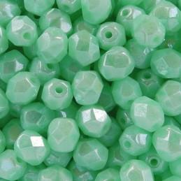 Tsekkiläinen fasettihiottu pyöreä lasihelmi 6 mm, opaakki kiiltävä azurin turkoosi