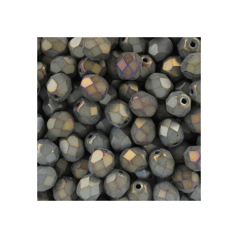 Tsekkiläinen fasettihiottu pyöreä lasihelmi 6 mm, matta ruskea iris