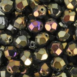 Tsekkiläinen fasettihiottu pyöreä lasihelmi 6 mm, ruskea iris