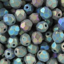 Tsekkiläinen fasettihiottu pyöreä lasihelmi 6 mm, matta vihreä iris