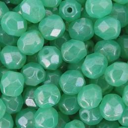 Tsekkiläinen fasettihiottu pyöreä lasihelmi 6 mm, läpikuultava kiiltävä akvamariini