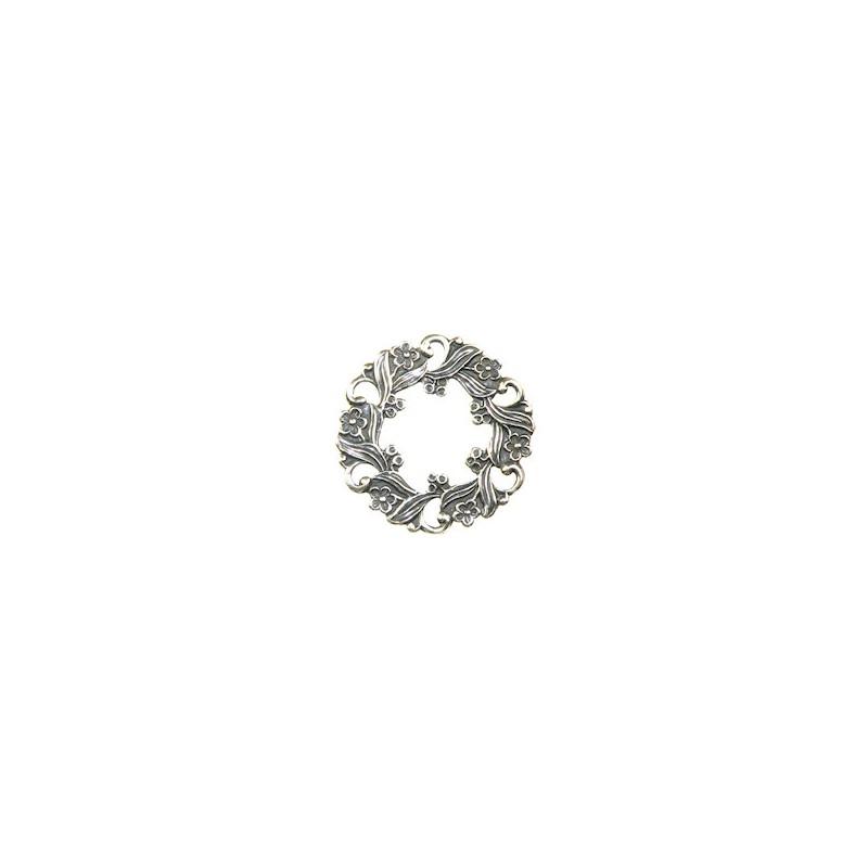 Trinity Brass pyöreä kukkaköynnös 26 mm, antiikkihopeoitu (etupuoli)