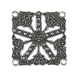 Trinity Brass etruski linkki 32 x 32 mm, antiikkihopeoitu (etupuoli)