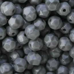 Tsekkiläinen fasettihiottu pyöreä lasihelmi 6 mm, opaakki koralli harmaa