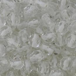 Tsekkiläinen fasettihiottu pyöreä lasihelmi 6 mm, kirkas valkosisus