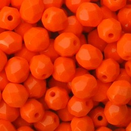 Tsekkiläinen fasettihiottu pyöreä lasihelmi 6 mm, opaakki kirkas oranssi