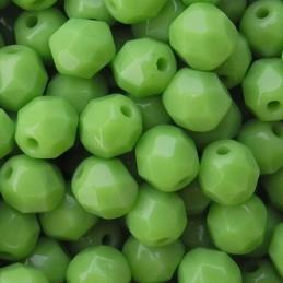 Tsekkiläinen fasettihiottu pyöreä lasihelmi 6 mm, opaakki oliviini