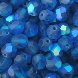 Tsekkiläinen fasettihiottu pyöreä lasihelmi 6 mm, kirkas matta kaprinsininen AB