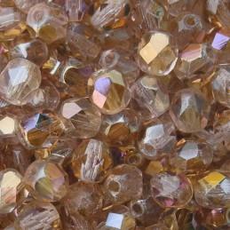 Tsekkiläinen fasettihiottu pyöreä lasihelmi 6 mm, kirkas vaalea ametisti twilight