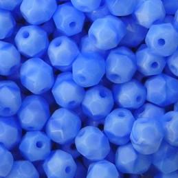 Tsekkiläinen fasettihiottu pyöreä lasihelmi 6 mm, opaakki koralli sininen