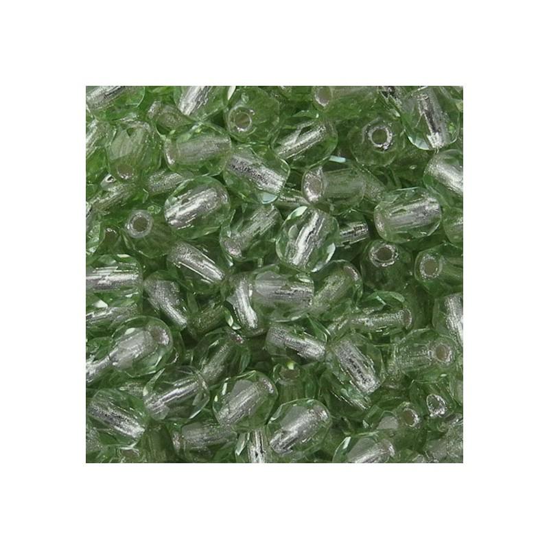 Tsekkiläinen fasettihiottu pyöreä lasihelmi 4 mm, kirkas hopeasisus peridootti