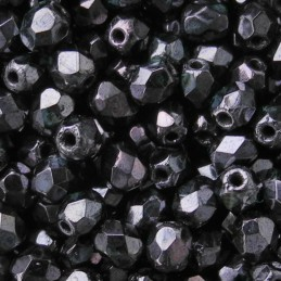 Tsekkiläinen fasettihiottu pyöreä lasihelmi 4 mm, opaakki kiiltävä gunmetal