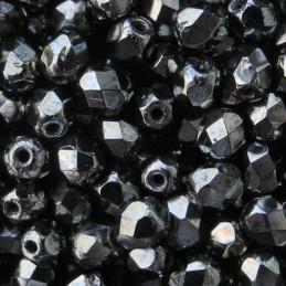 Tsekkiläinen fasettihiottu pyöreä lasihelmi 4 mm, opaakki hematiitti