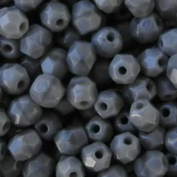 Tsekkiläinen fasettihiottu pyöreä lasihelmi 4 mm, opaakki koralli harmaa