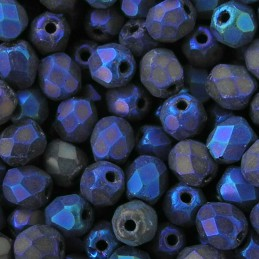 Tsekkiläinen fasettihiottu pyöreä lasihelmi 4 mm, matta sininen iris