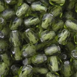 Tsekkiläinen fasettihiottu pyöreä lasihelmi 4 mm, kirkas hopeasisus oliviini