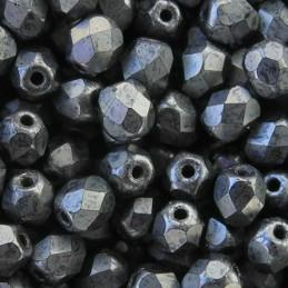 Tsekkiläinen fasettihiottu pyöreä lasihelmi 4 mm, opaakki matta hematiitti