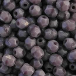 Tsekkiläinen fasettihiottu pyöreä lasihelmi 4 mm, opaakki koralli laventeli