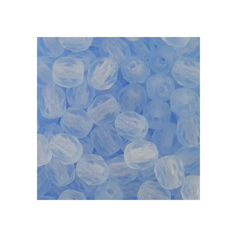 Tsekkiläinen fasettihiottu pyöreä lasihelmi 4 mm, kirkas matta vaalea safiiri