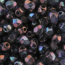 Tsekkiläinen fasettihiottu pyöreä lasihelmi 4 mm, kirkas kiiltävä ametisti
