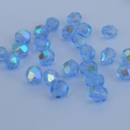 Tsekkiläinen fasettihiottu pyöreä lasihelmi 6 mm, kirkas vaalea safiiri AB