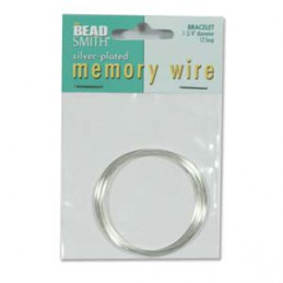 Memory wire, rannekorukoko 45 mm, hopeoitu (12 kieppiä)