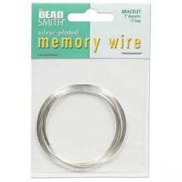 Memory wire, rannekorukoko 50 mm, hopeoitu (12 kieppiä)