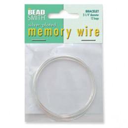 Memory wire, rannekorukoko 57 mm, hopeoitu (12 kieppiä)