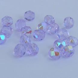 Tsekkiläinen fasettihiottu pyöreä lasihelmi 6 mm, kirkas aleksandriitti AB