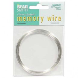 Memory wire, rannekorukoko 64 mm, hopeoitu (12 kieppiä)