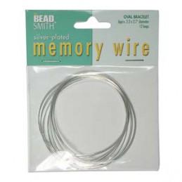Memory wire, ovaali rannekorukoko 56 x 69 mm, hopeoitu